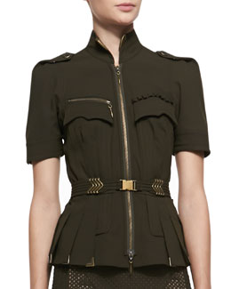 Byron Lars Beauty Mark Short Sleeve Metallic Embellished Blouse, Olive