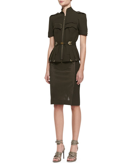Mixed Media Pencil Skirt, Olive
