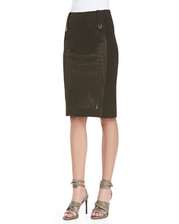 Byron Lars Beauty Mark Mixed Media Pencil Skirt, Olive