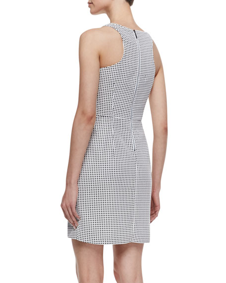 Sleeveless Perforated Leather Sheath Dress, Black/White