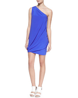 Ramy Brook Jasmine Silk One-Shoulder Draped Dress