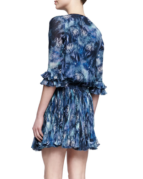 Bobby Tie-Neck Printed Chiffon Dress