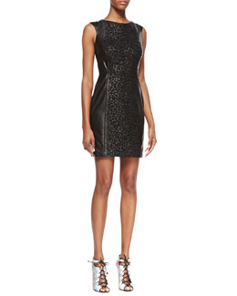 Vakko Sleeveless Laser-Cut Leather Dress, Black