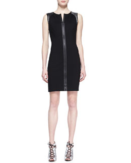 Elie Tahari Lexington Leather-Weave Dress