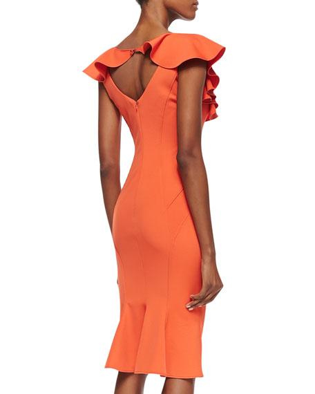 Ruffle-Sleeve Seamed Sheath Dress, Flame
