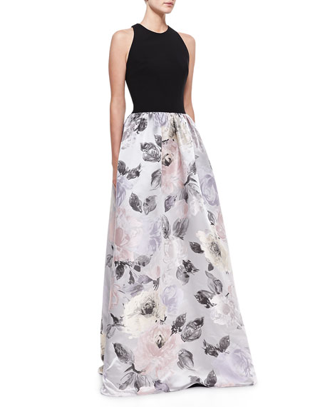 Sleeveless Contrast Floral Skirt Gown, Black/Multicolor