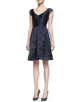 David Meister Signature Beaded Sleeve V-Neck Party Dress, Navy