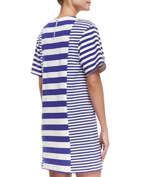 Striped-Jersey Short-Sleeve Dress