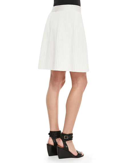Pleated Stretch-Jersey Skirt