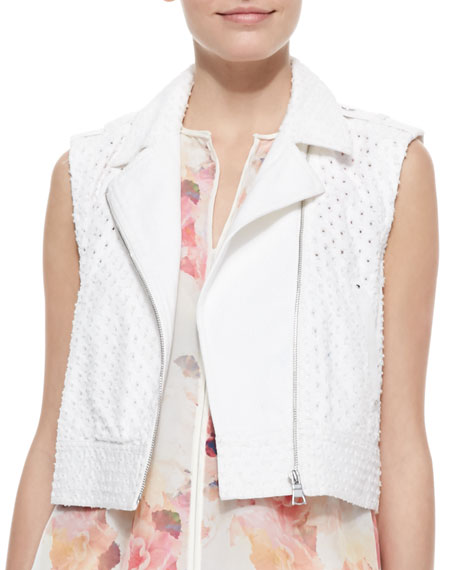 Perforated Cropped Denim Moto Vest