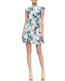 Rebecca Taylor Enchanted Gardens Drop-Waist Floral-Print Dress