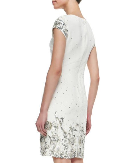 marchesa shift style beaded sequined cocktail dress ivory