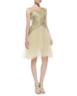 Marchesa Sleeveless Embroidered Bodice Cocktail Dress, Gold