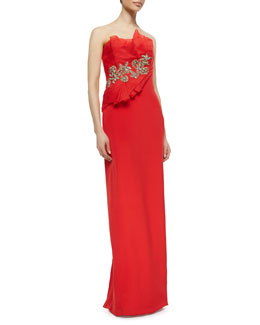Marchesa Strapless Fold Gown with Beaded Flowers, Poppy