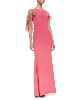 Marchesa Embroidered Cape Gown, Petal Pink