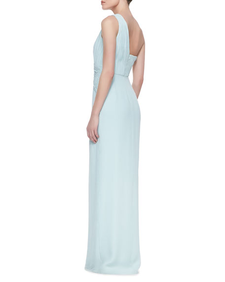 One-Shoulder Beaded Side Gown, Cloud