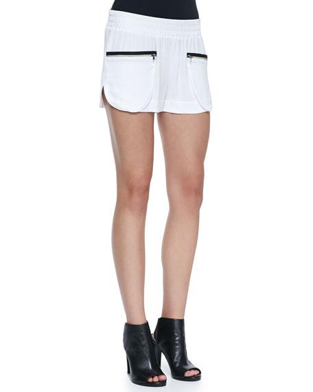 Satin Crepe Zip-Pocket Track Shorts