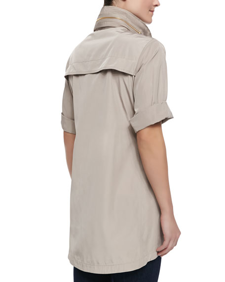Short-Sleeve Covered-Placket Anorak Jacket, Putty