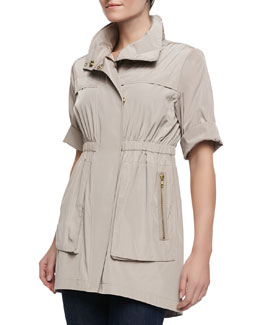 Ali Ro Short-Sleeve Covered-Placket Anorak Jacket, Putty