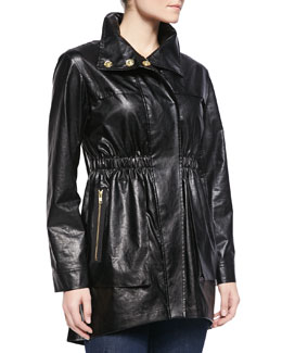 Ali Ro Covered-Placket Anorak Jacket, Black