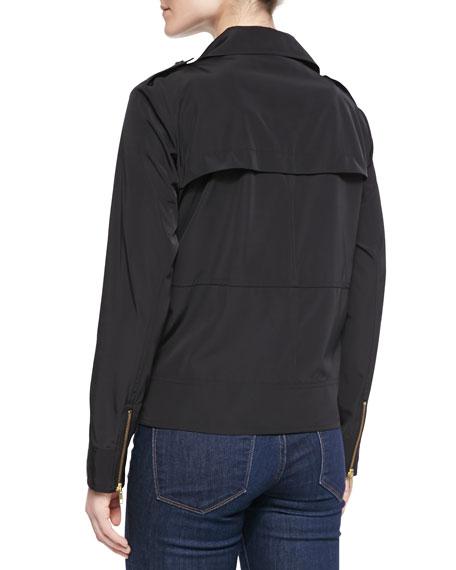 Zip Front Moto Style Anorak Jacket, Black