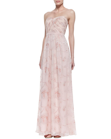 Strapless Floral Ruched-Bodice Gown, Strawberry Creme