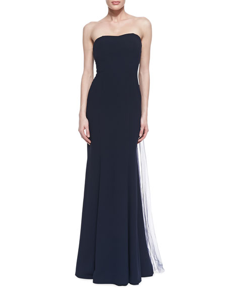 Strapless Beaded Cape-Back Gown, Navy