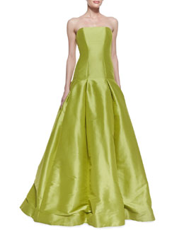 ML Monique Lhuillier Strapless Drop-Waist Ball Gown, Lemongrass