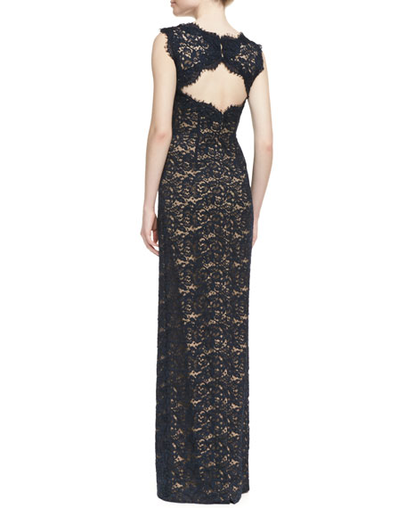 Lace-Overlay Sleeveless Cutout-Back Gown