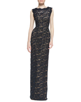 ML Monique Lhuillier Lace-Overlay Sleeveless Cutout-Back Gown