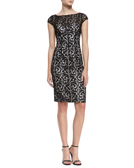 Cap Sleeve Lace Overlay Cocktail Dress, Black/White