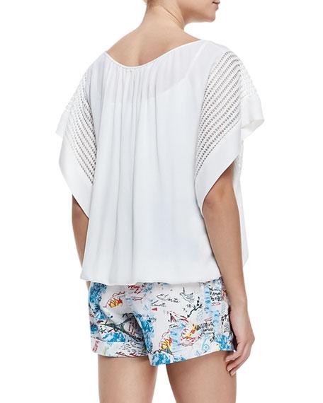 Short-Sleeve Oversized Blouse