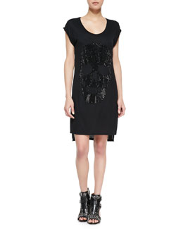 Haute Hippie Jersey Embellished Skull T-Shirt Dress