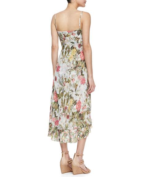 Garden of Eden Floral Silk High-Low Sundress