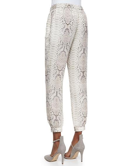 Anaconda-Print Silk Cropped Pants
