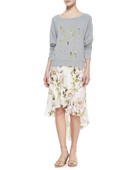 Thorn & Floral-Print High-Low Skirt