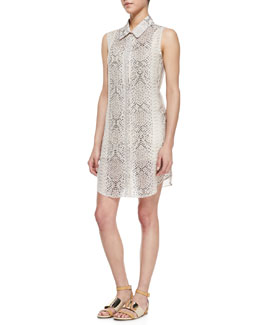 Haute Hippie Silk Anaconda-Print Sleeveless Shirtdress