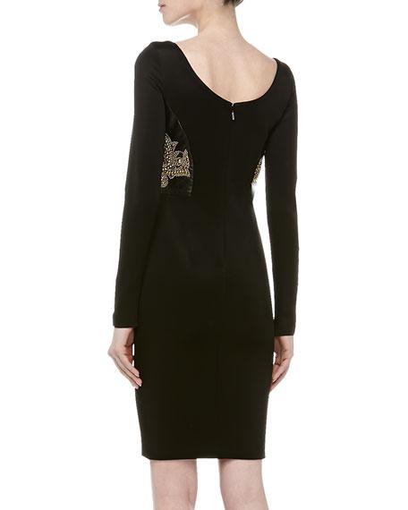 Scoop-Neck Leather Stud Cocktail Dress, Black