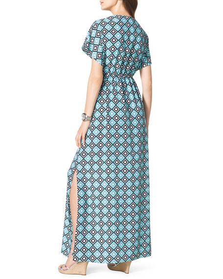 Diamond-Print Short-Sleeve Maxi Dress, Women's