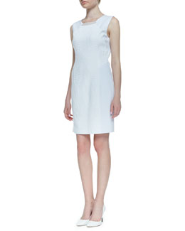 Elie Tahari Sleeveless Croc Jacquard Gramercy Dress, White