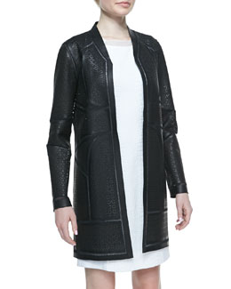 Elie Tahari Bond Perforated Lambskin Leather Coat