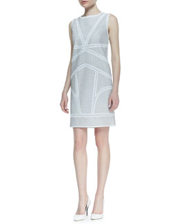 Elie Tahari Mulberry Perforated Lambskin Leather Dress