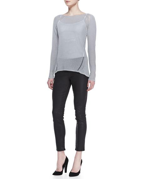 Selena Waxed Slim-Leg Jeans