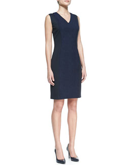 Elie Tahari Rudy Textured Snake Jacquard Sheath Dress