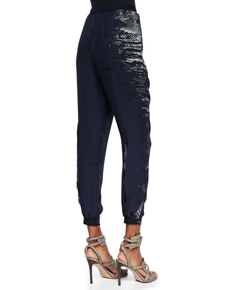 Emmy Silk Snake Tribe-Print Pants