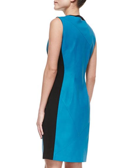 Colorblock Front-Zip Leather Dress, Apollo