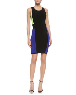Milly Color-Panel Sleeveless Body-Con Dress
