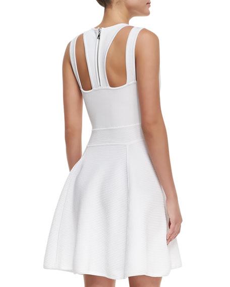 Textured Knit Sleeveless Flared Dress