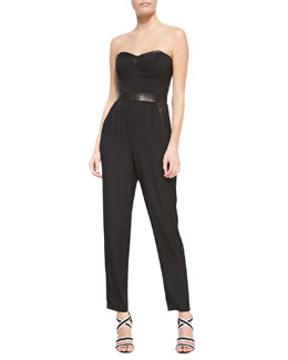 Milly Strapless Bustier Leather-Trim Stretch-Silk Jumpsuit