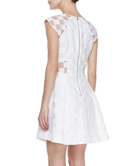 Checkerboard Zip-Front Dress